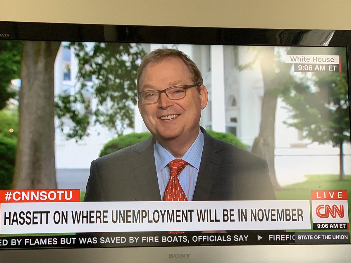 Another strange appearance by Kevin Hassett on CNN's State of the Nation, where he seems so darn cheery discussing the pandemic, the likelihood of soaring unemployment, food stamps, medical treatments...