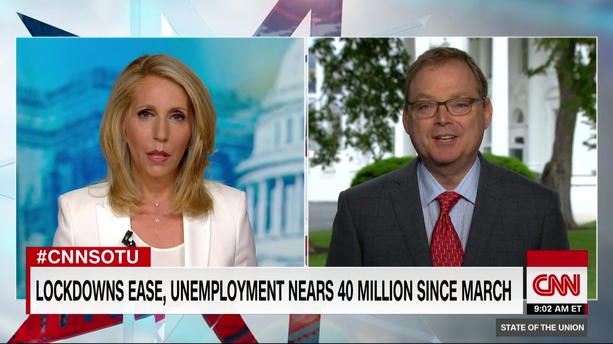 """The month of May could see an unemployment rate north of 20%, according to Kevin Hassett, senior economic adviser to President Trump.  He adds that he expects """"the unemployment rate will be higher in June than in May, but then after that it should start to trend down"""" #CNNSOTU https://t.co/DcNMOYIbt3"""
