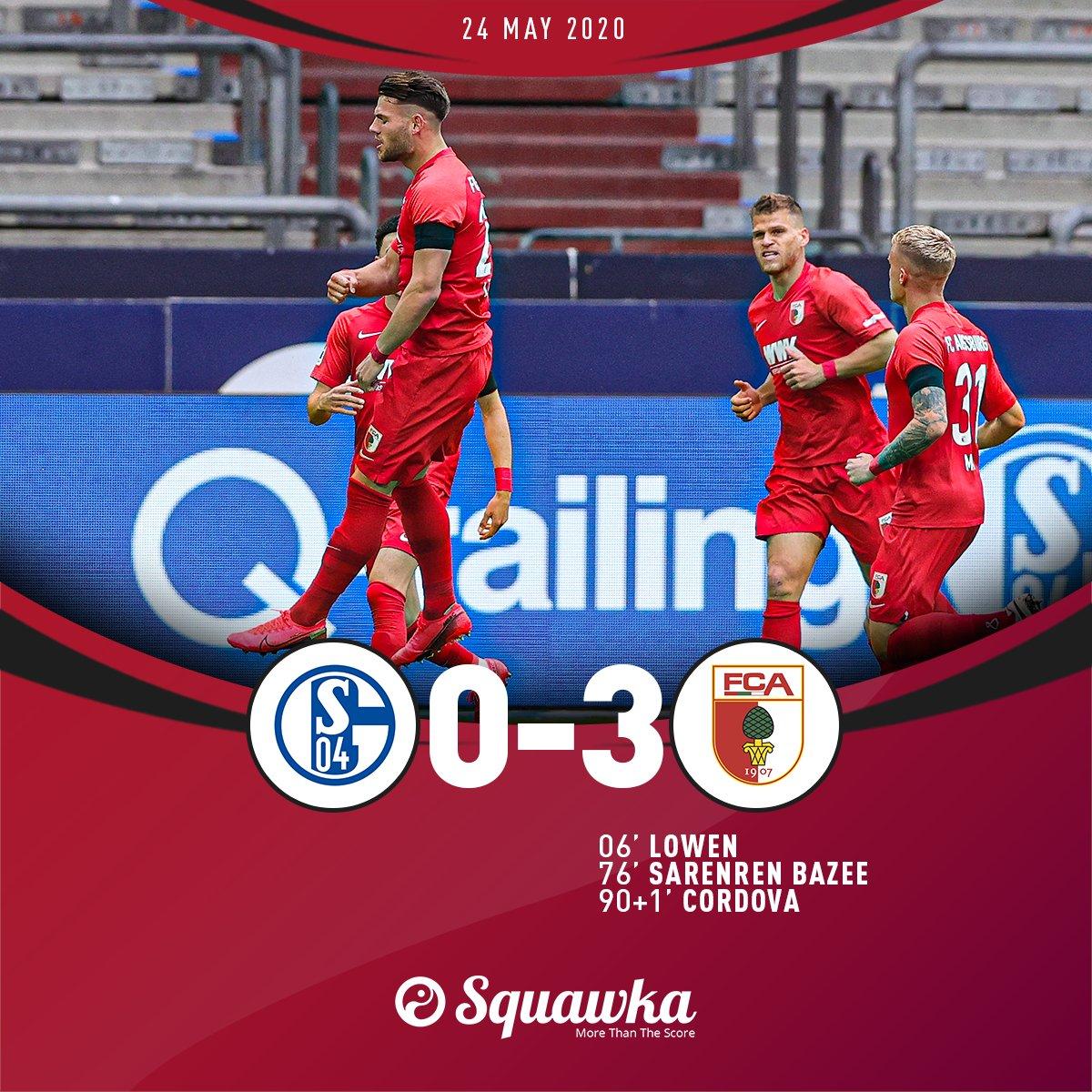 Schalke 0-3 Augsburg FT: ⚽️ Lowen ⚽️ Sarenren Bazee ⚽️ Cordova An emphatic victory for the visitors.