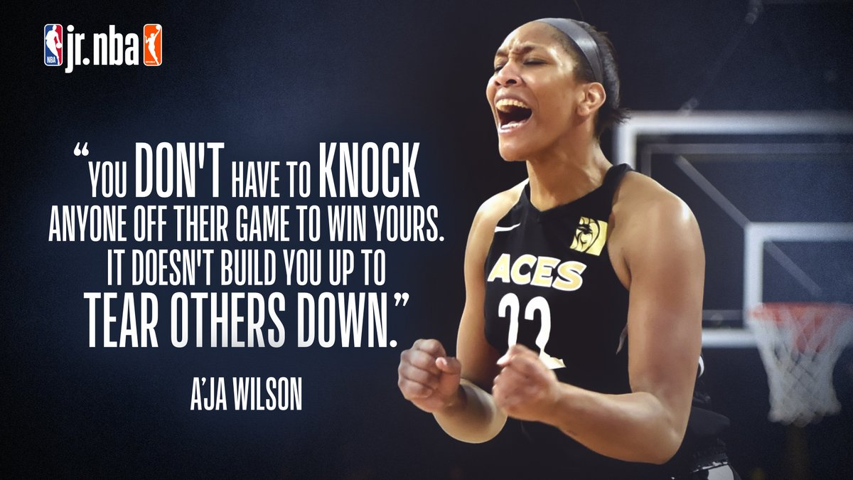 🙌🙌🙌 @_ajawilson22  Words to live by from @LVAces star A'ja Wilson 🔥 #JrNBAatHome #WNBATogether @wnba https://t.co/pWxlKQ06b4