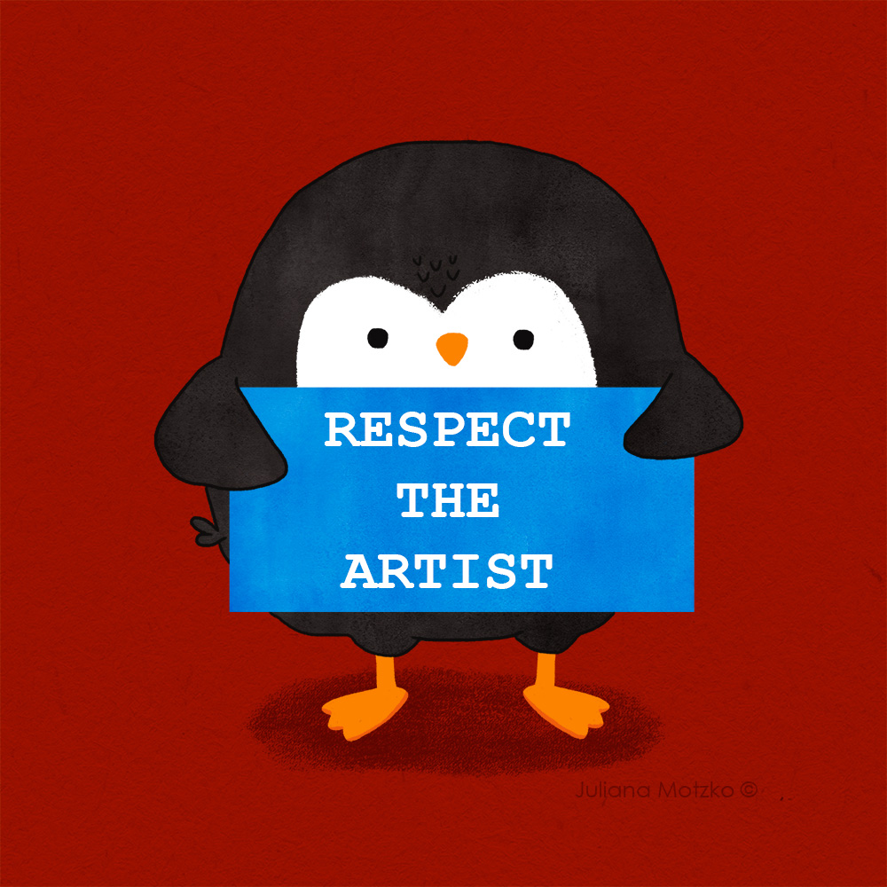 RESPECT THE ARTIST !  Don't copy, take or use illustrations without the artist's permission.  #ThePenguinsFamily #RespectTheArtist #advice #penguin #campaign #illustrators #illustration #respect #right #copyright #childrenillustration #kidlitart #kidlitartist #JulianaMotzkopic.twitter.com/Tp7j3bFqko