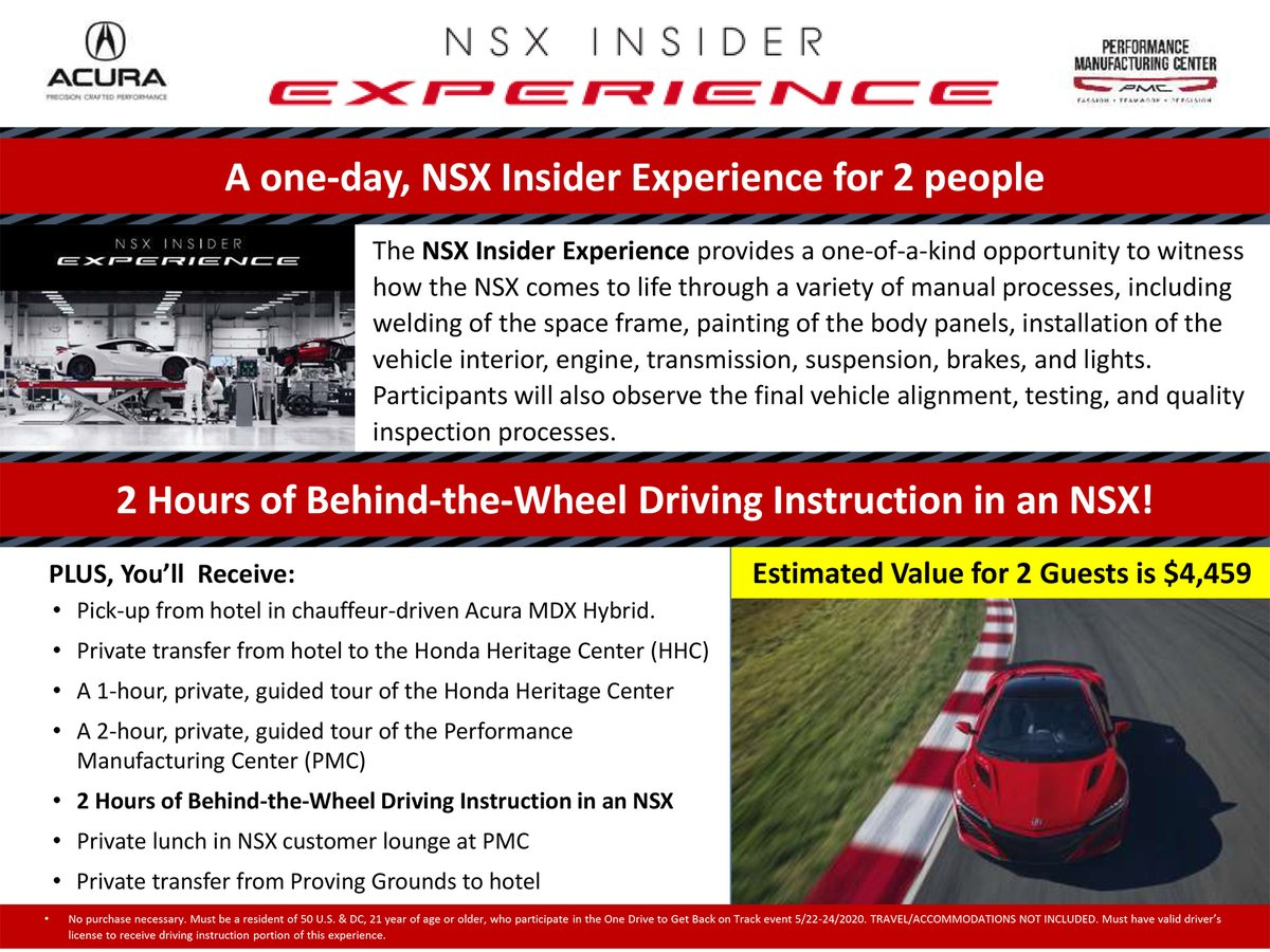 Last chance to bid on the one-of-a-kind NSX Insider Experience in the One Drive To Get #BackOnTrack virtual auction with @IndyCar. 🏁 Bid Now: bit.ly/2XusPsm #Honda // #INDYCAR