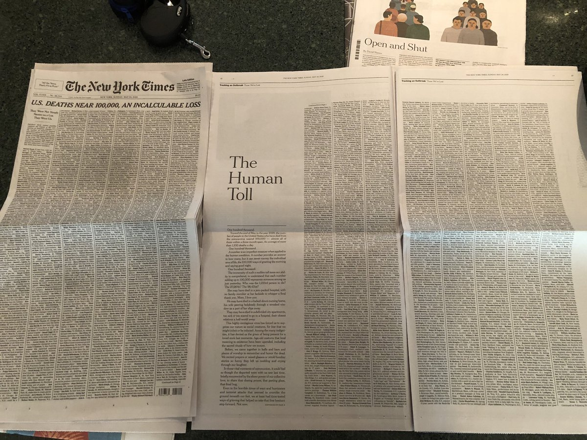 In September I made a plan to get a copy of the @nytimes on the day I graduate college to remember how the world was on the day I entered into it. This is not what I envisioned.  The names go for four pages.
