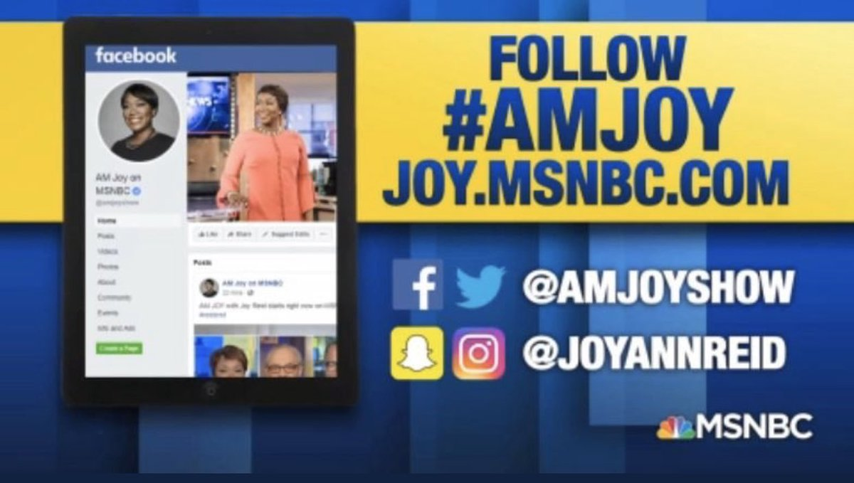 #AMJoy with @JoyAnnReid starts right now on @MSNBC! Let's get our hashtag trending #reiders!
