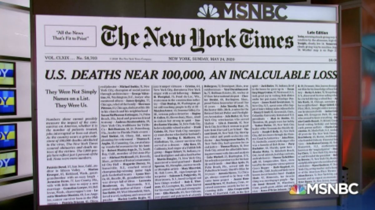 Today's @nytimes front page: 'U.S. Deaths Near 100,000, An Incalculable Loss' #AMJoy