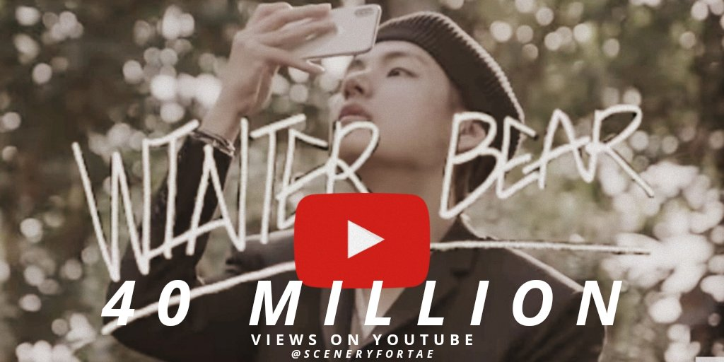 Winter bear MV has surpassed 40 Million mark on YouTube.  The music video was directed by V, and the song was also written and composed by V.  It's his 2nd solo MV to do so.   Congratulations Taehyung   @BTS_twt<br>http://pic.twitter.com/6vxNyH4pju