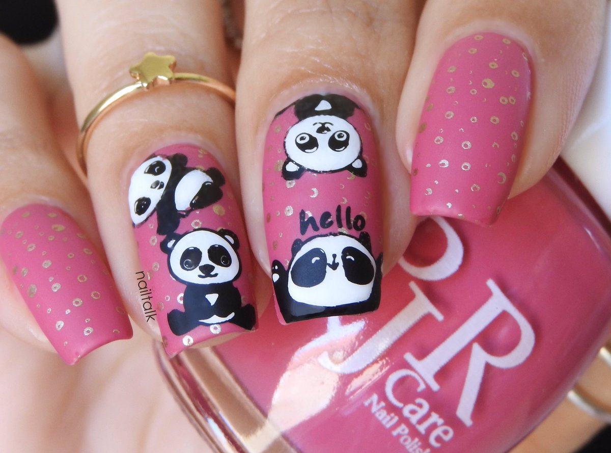 Panda nails! (Polish is 'Prosperity' from PJR Care, panda pattern is from a BeautyBigBang plate ) #nails #nailartpic.twitter.com/wmABPOvWlU