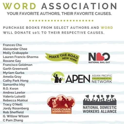 This is such a genius idea: from 5/25-30, buy books from these A+ authors from @wordbookstores & 10% goes to charity. 💸📚❤️ @alexanderchee @GarthGreenwell @wordscience @ValeriaLuiselli @rgay @rokwon @rebeccamakkai @cathyparkhong @GWillowWilson @mollycrabapple @lesbrains et al.