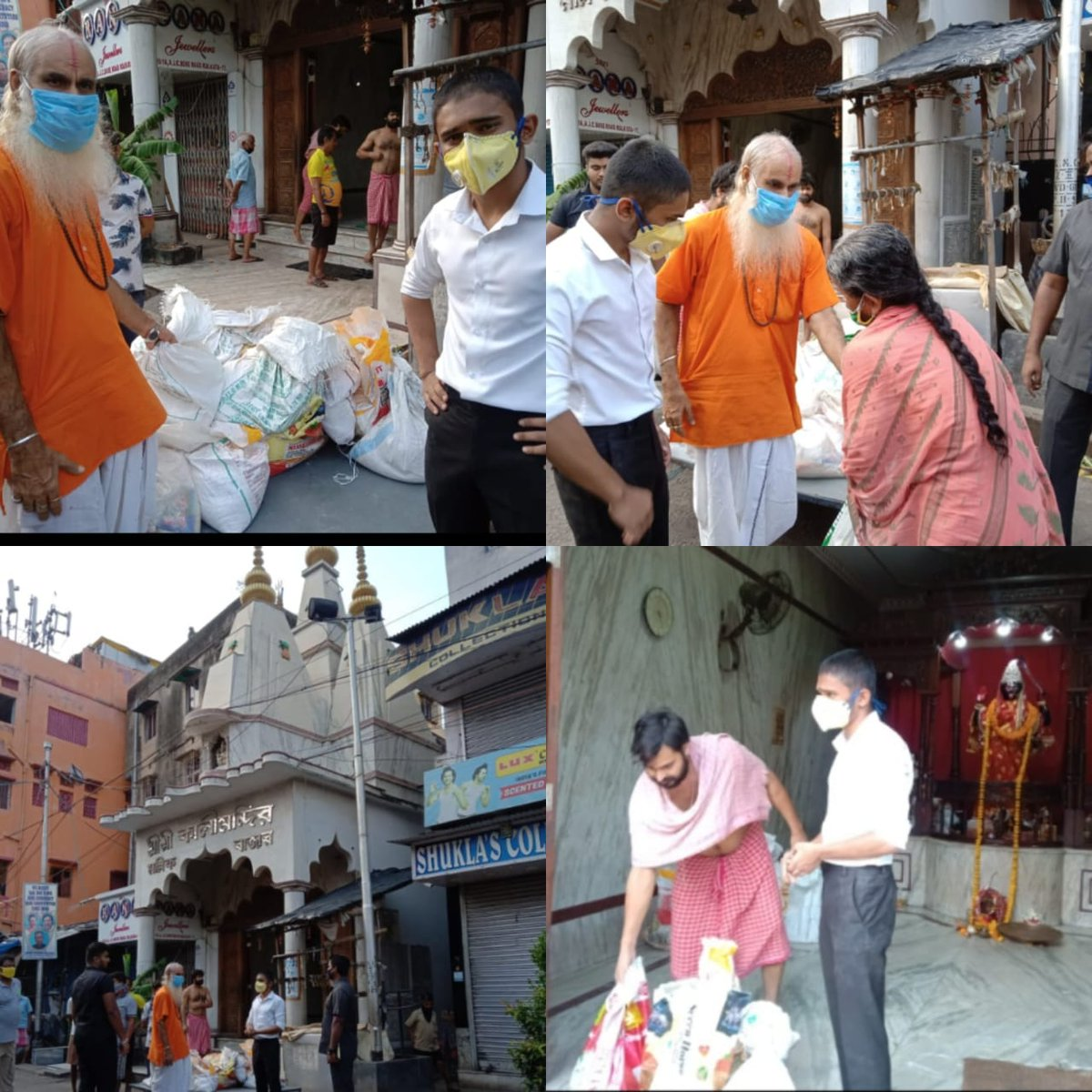 Today we distributed monthly ration to 100 families from Kali Mandir; Mullik Bazaar; Kolkata. The priest of the Mandir was a very humble man. Hunger sees no religion!