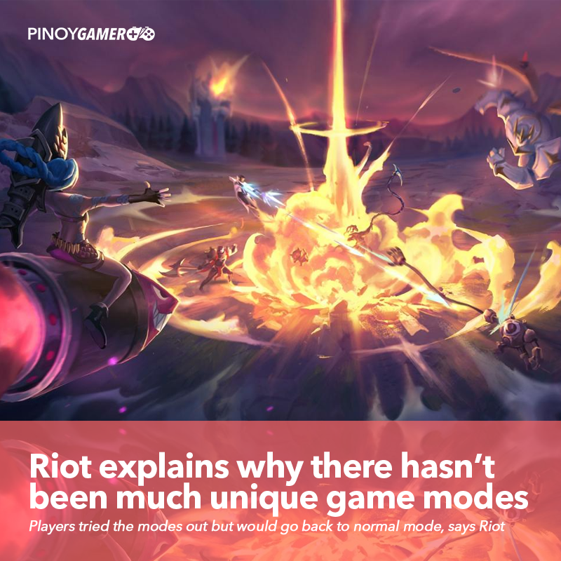 """Riot explains why it hasn't brought unique event game modes back to League. """"...players were excited to try the modes but would quickly return to Summoner's Rift after the novelty wore off."""" says Riot Games #LeagueOfLegends #RiotGames #urf #Summonersrift #pinoygamerpic.twitter.com/28hJRdugYA"""