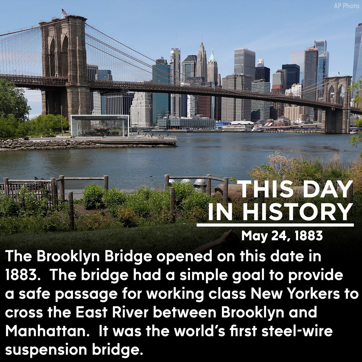 Happy birthday, Brooklyn Bridge!  It was the world's longest suspension bridge on the day it opened, spanning the East River and providing the link between Manhattan and Brooklyn.  #brooklynbridge #nycpic.twitter.com/Ed8Gkh4ldb
