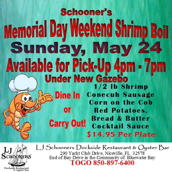 #ljschooners, #shrimpboil, #memorialdayweekend2020 Dinner Plans?  Let us help! 850-897-6400<br>http://pic.twitter.com/dKdyhG8Hto