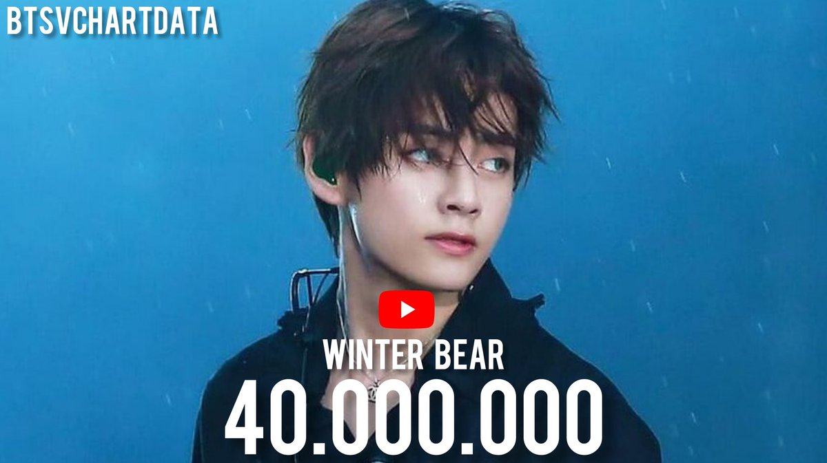'Winter Bear' has surpassed 40,000,000 views on YouTube. It's Taehyung's 2nd MV to achieve this.  #WinterBear40M <br>http://pic.twitter.com/D3RDYPzH6Y