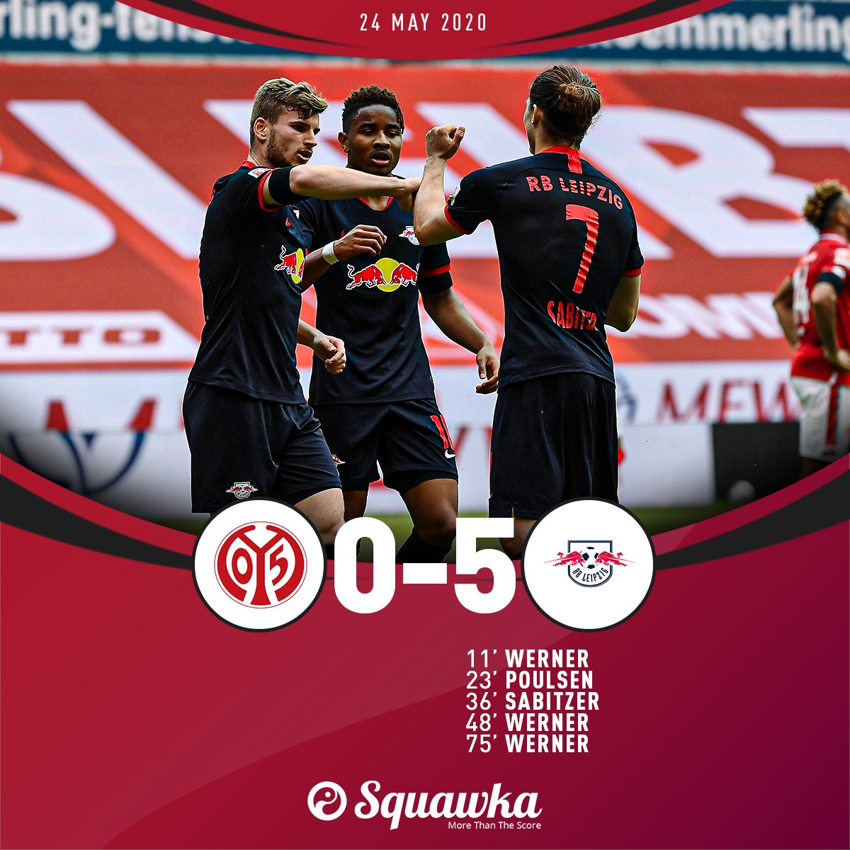 Mainz 0-5 RB Leipzig FT: ⚽️ Werner ⚽️ Poulsen ⚽️ Sabitzer ⚽️ Werner ⚽️ Werner A hat-trick from Timo Werner gives the visitors an emphatic victory against Mainz.