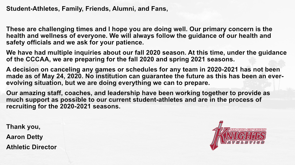 Statement from Athletic Director Aaron Detty  #goknights<br>http://pic.twitter.com/tOjr2jTnYU