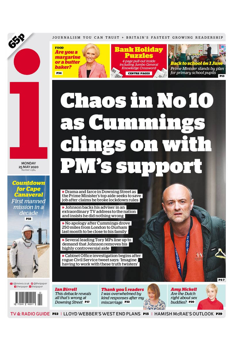"Monday's i: ""Chaos in No10 as Cummings clings on with PM's support"" #TomorrowsPapersToday #BBCPapers (via @hendopolis)"