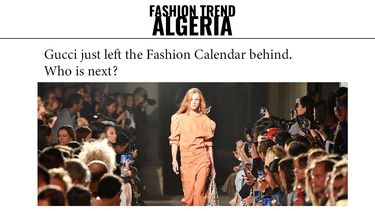 """#Gucci is going seasonless and scaling back the rhythm of its fashion shows to twice per year. """"I will abandon the worn-out ritual of seasonalities and shows to regain a new cadence, closer to my expressive call,"""". pic.twitter.com/s1sleiwx4m"""