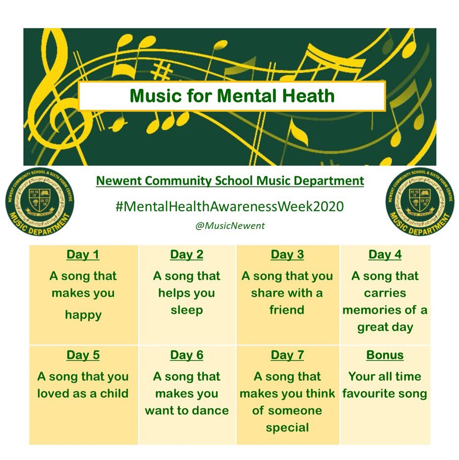 We finish our #musicformentalhealth chart tomorrow with 'Your All Time Favourite Song' - let's make this playlist the best one yet!! 🎧🎶👌🏻 looking forward to getting your choices and thanks for joining! #MentalHealthAwarenessWeek https://t.co/nFFNjtz39H