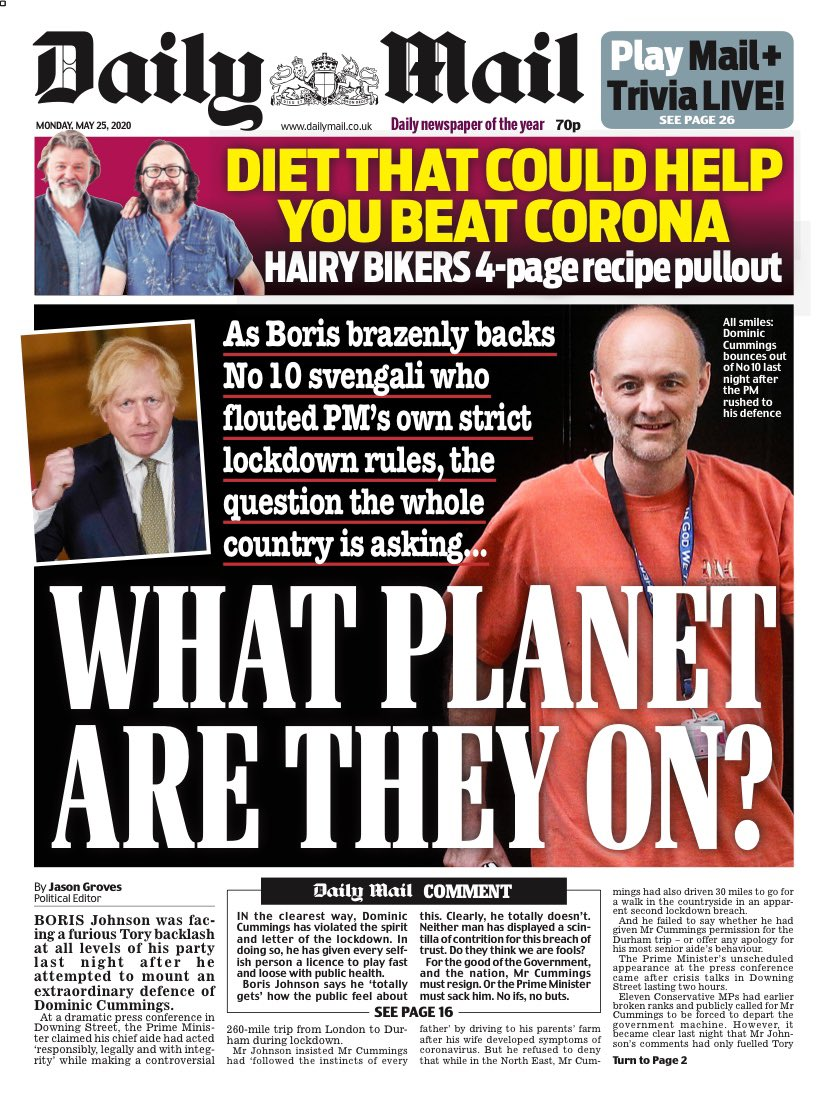 "Mondays Mail: ""What planet are they on?"" #TomorrowsPapersToday #BBCPapers (via @hendopolis)"