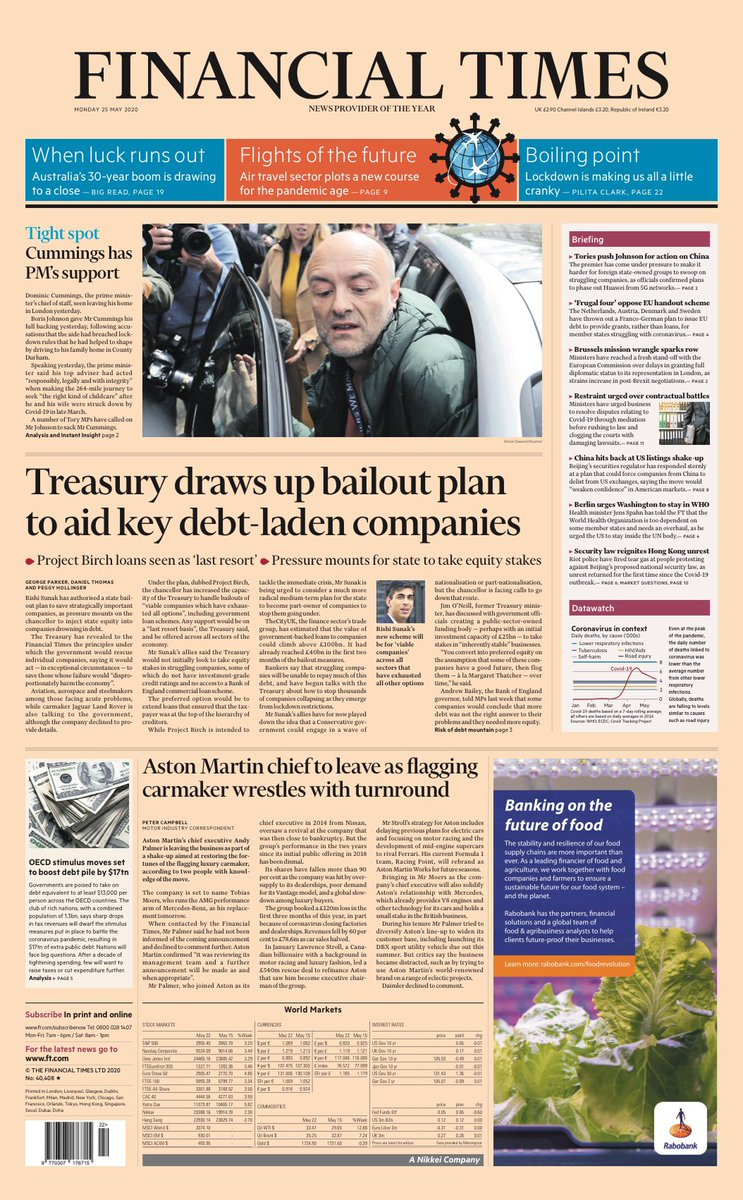 "Mondays FT: ""Treasury draws up bailout plan to aid key debt-laden companies"" #TomorrowsPapersToday #BBCPapers (via @hendopolis)"