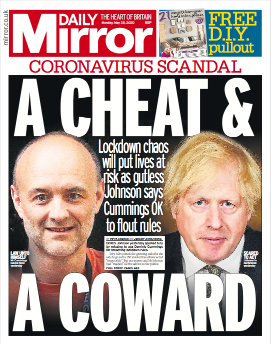 Tomorrows front page: A cheat and a coward #tomorrowspaperstoday mirror.co.uk/news/politics/…