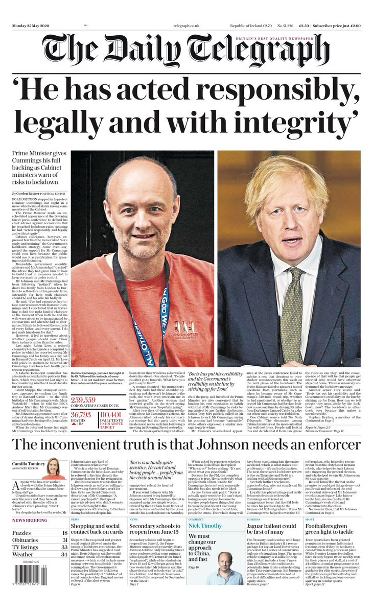 "Monday's Telegraph: ""'He has acted responsibly, legally and with integrity'"" #TomorrowsPapersToday #BBCPapers (via @hendopolis)"