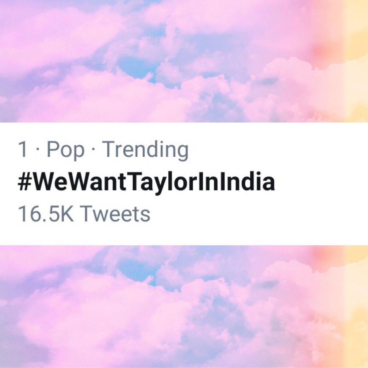 | Taylor Swift fans got #WeWantTaylorInIndia trending at #1 in hopes of getting Taylor to perform live in their country for the very first time  <br>http://pic.twitter.com/cj3SOVbXXT