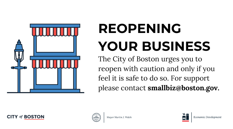 Some businesses are allowed to reopen beginning on Monday, May 25th, per the state's phased reopening. The City of Boston urges you to reopen with caution, and only if you feel it is safe to do so. If you need support or have questions, please contact smallbiz@boston.gov.pic.twitter.com/G6yrn1v4cq