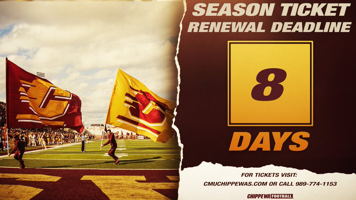 Only 8️⃣ D A Y S to renew your 🏈 season tickets and secure your favorite seats in Kelly/Shorts 🏟‼️  All season tickets come with a sideline 🎟 for the Oct. 1️⃣7️⃣ Western Michigan game at Ford Field valued at 💲4️⃣0️⃣   🎟:   #FireUpChips🔥⬆️
