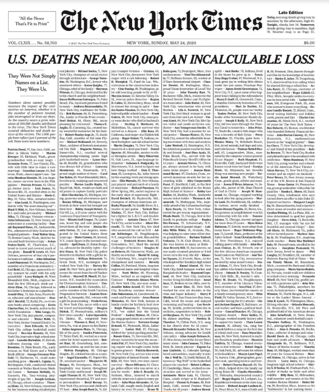 The front page of today's New York Times.  (For those interested in how it came together, please see https://www.nytimes.com/2020/05/23/reader-center/coronavirus-new-york-times-front-page.html… )  @nytimespic.twitter.com/P6bNMWDafs