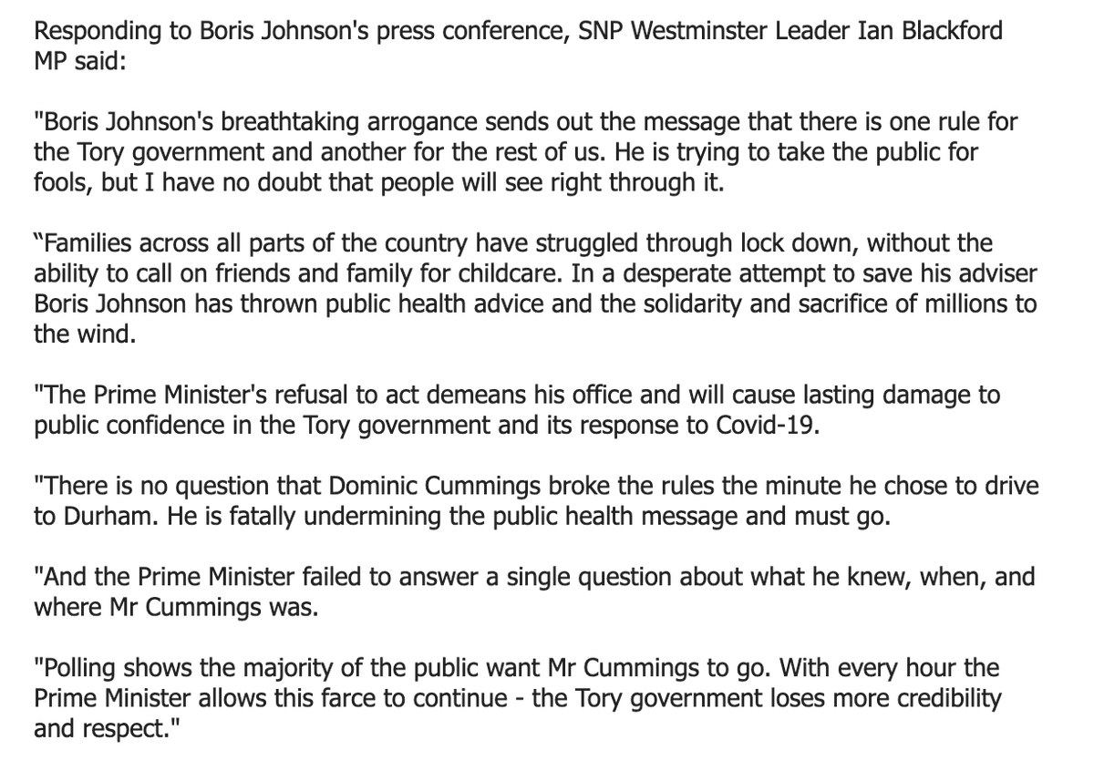 """""""Boris Johnson's breathtaking arrogance sends out the message that there is one rule for the Tory government and another for the rest of us.   """"He is trying to take the public for fools""""  SNP Westminster Leader @Ianblackford_MP on Boris Johnson's press conferencepic.twitter.com/oWYpjOfnyP"""