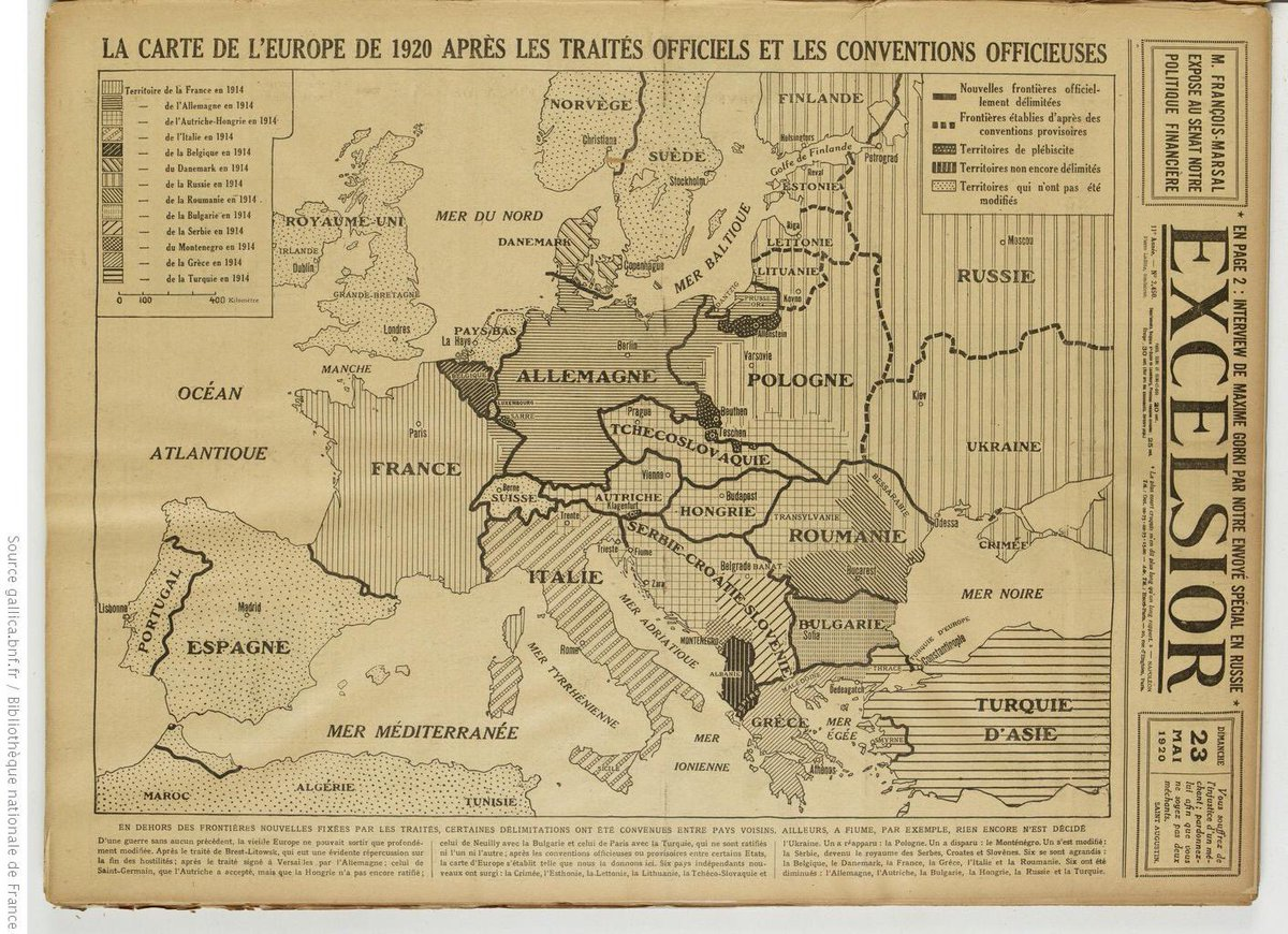 The new map of Europe following all the reorganization treaties that have been passed since the end of the Great War.pic.twitter.com/wGf8UHJ8ux