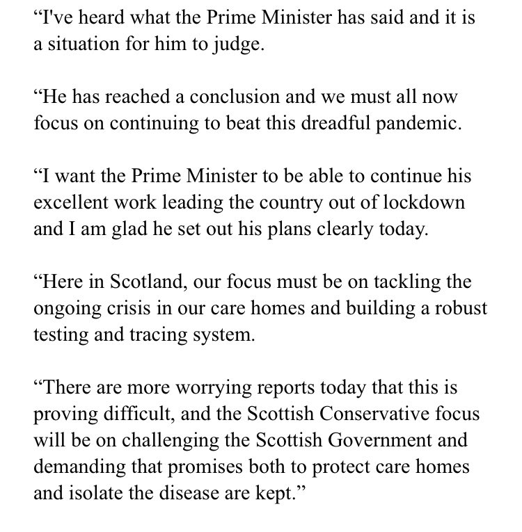 We have asked @ScotTories to come on to @BBCScotland #TheSeven to answers questions on #cummings. Nobody is available. Statement from @Jackson_Carlaw 👇