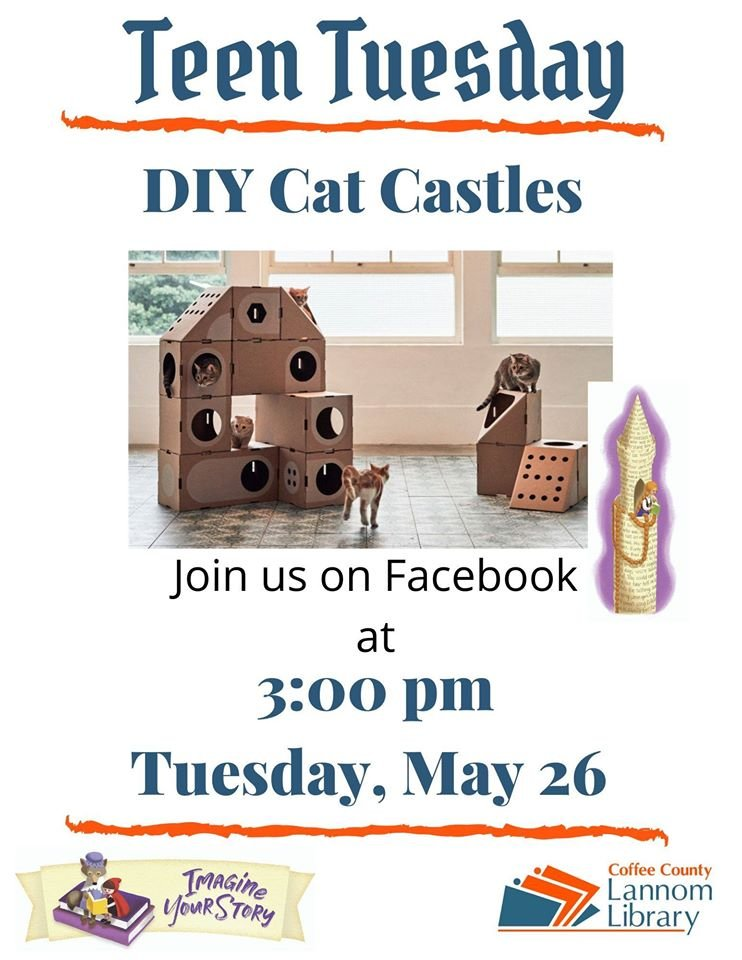 Join us on Facebook as Ms. Alise demonstrates how to make a one of kind cat castle for your special pet. You will receive a secret code to enter in your Readsquared app to let us know you attended and enter you for a chance to win a prize. https://t.co/ba5OSCcTVI
