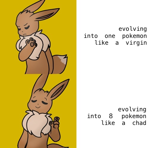 Eevee is a chad. #eevee #pokemon (idea from @/Moscht !) <br>http://pic.twitter.com/LS4lIjPP0a
