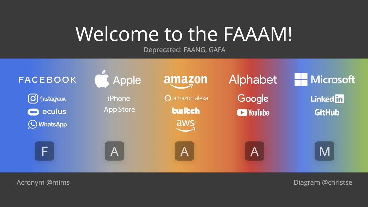 가장 대표적인 플랫폼 회사들을 칭하던 FANG이 팬데믹 시기에도 신고가를 계속 경신하는 미국 최대의 다섯 회사를 칭하는 FAAAM 이라는 단어로 진화. 여기에는 Facebook, Apple, Amazon, Alphabet, Microsoft가 포함되는데 FANG에서 넷플릭스가 빠지고 아마존,MS가 추가.
