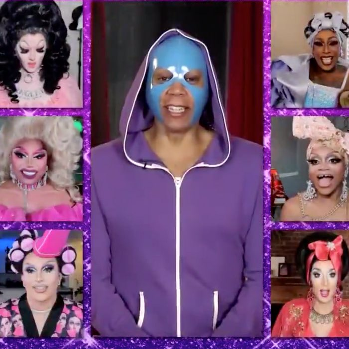 Is this some sort of weird rejuvenation mask, or is RuPaul getting into lucha? I'm confuse.  #DragRace12 #DragRaceReunited