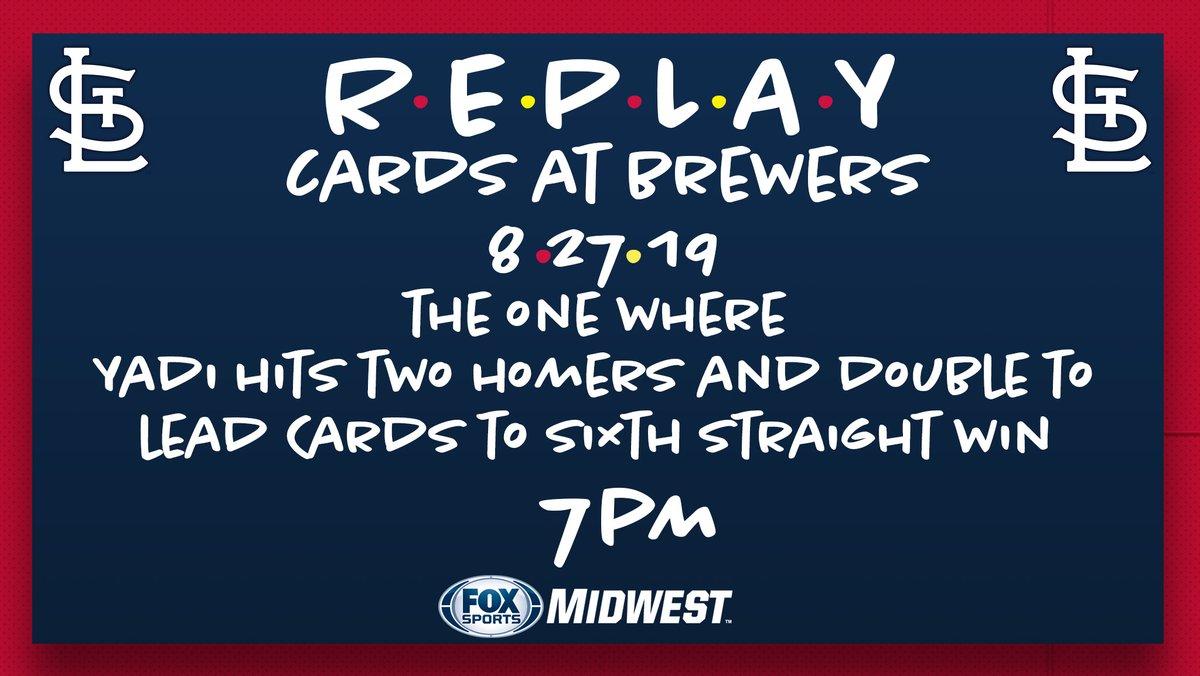 Cardinals Replay tonight on FSMW and FSGO. #STLCards @Cardinals