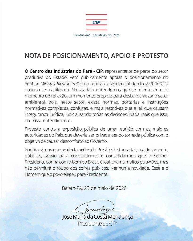Centro das Indústrias do Pará apoia ideias do ministro do Meio Ambiente