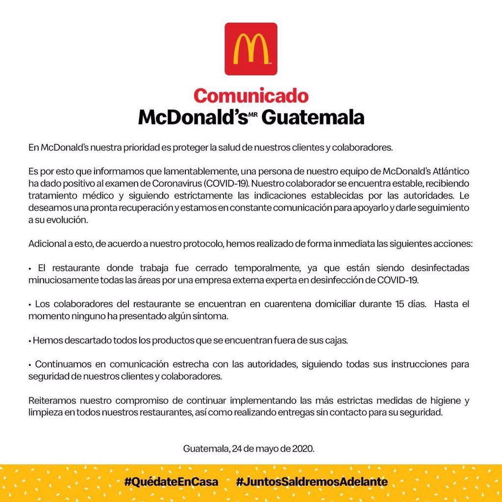 test Twitter Media - Este día @McGuate ha confirmado que uno de sus trabajadores dio positivo en la prueba de COVID-19. https://t.co/DEMK0dituz