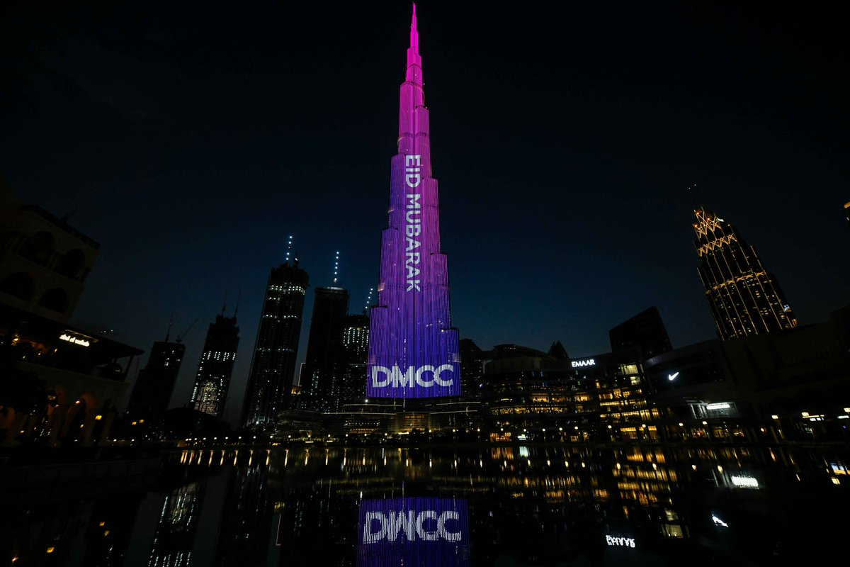 .@DMCCAuthority – the world's flagship Free Zone – marked Eid al-Fitr by lighting up the @BurjKhalifa with a special message to all across the country.pic.twitter.com/Xe6kolnRSu