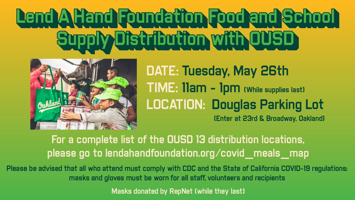 Lend a Hand Foundation is supporting the Town by hosting Food and School Supply distributions with OUSD. Those in need can attend the next drive this upcoming Tuesday. More info: https://t.co/muJDrUUdIt https://t.co/Ba3BkMkQiU