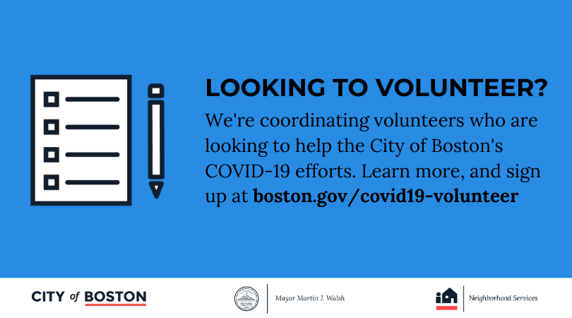 Interested in helping the City's #COVID19 efforts? We're coordinating volunteers who are looking to help and connecting them to future outreach and volunteer opportunities. Complete out intake form today: http://boston.gov/covid19-volunteer…pic.twitter.com/wHHJEZ5lMJ