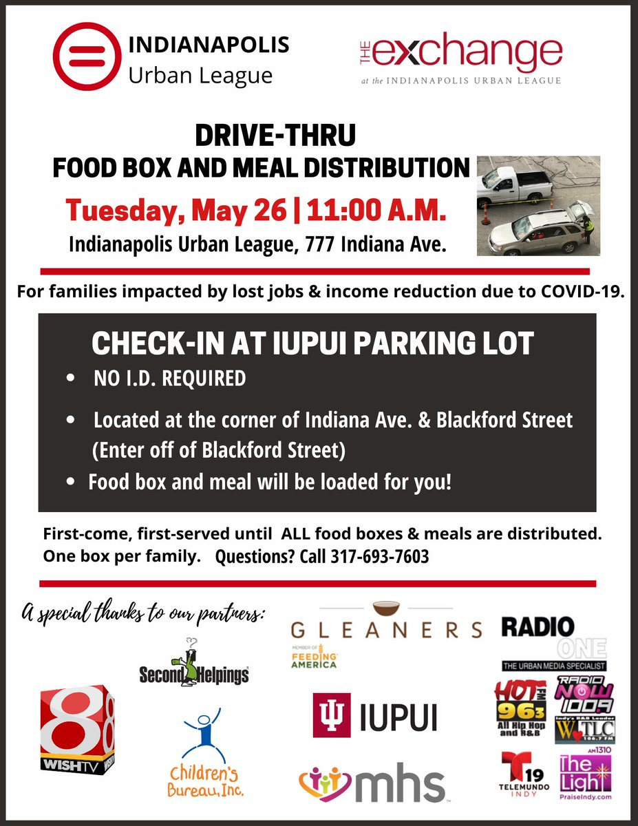 Are you, or someone you know,in need of food?  Come to the drive-thru food and meal distribution Tuesday, May 26th hosted by the @indplsul  and @iulexchange https://t.co/qoorVGcNho