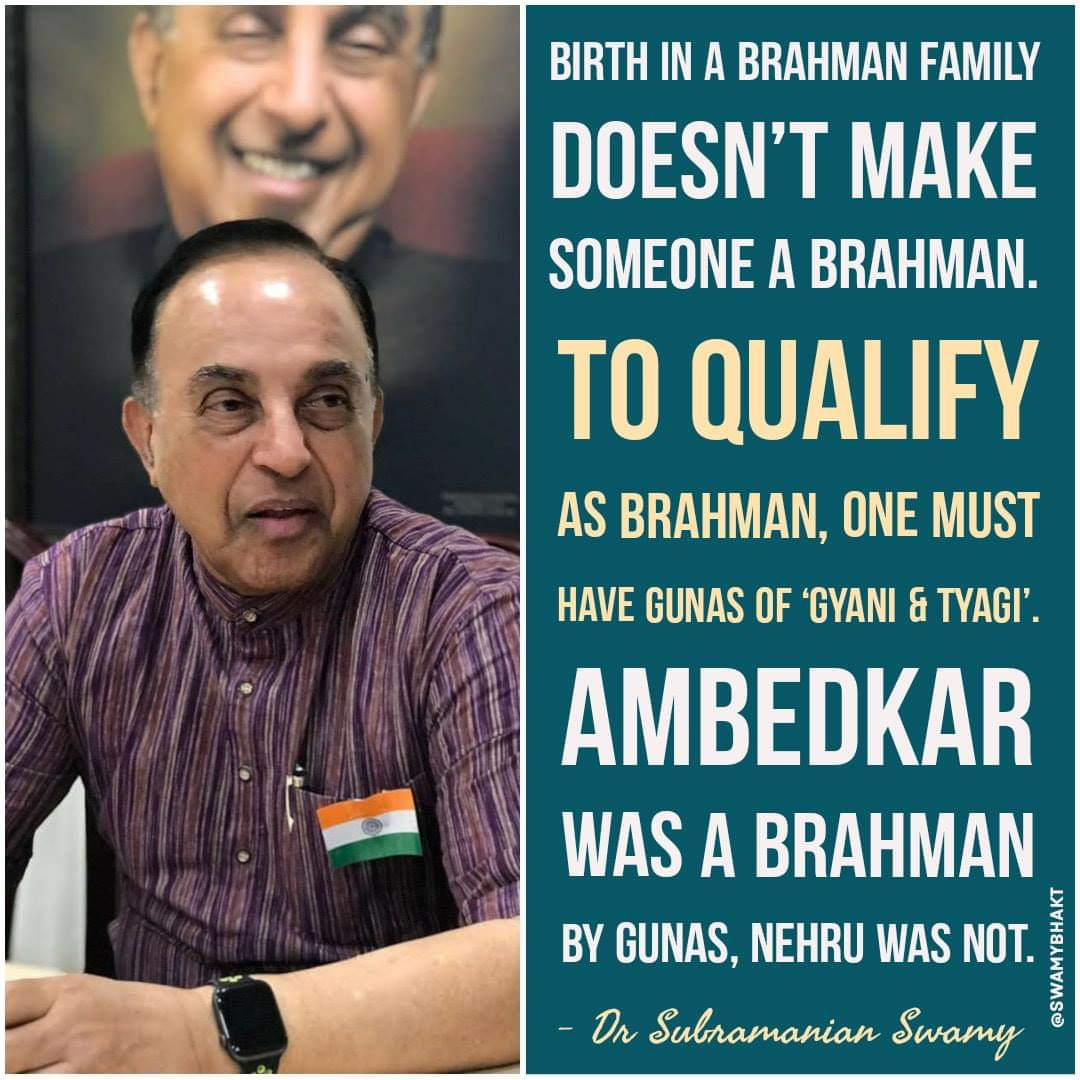 Great words sir @Swamy39 , I remember your words in tv interview saying that Ambedkar was the real pandit not nehru.pic.twitter.com/Uia7gc2Jo4