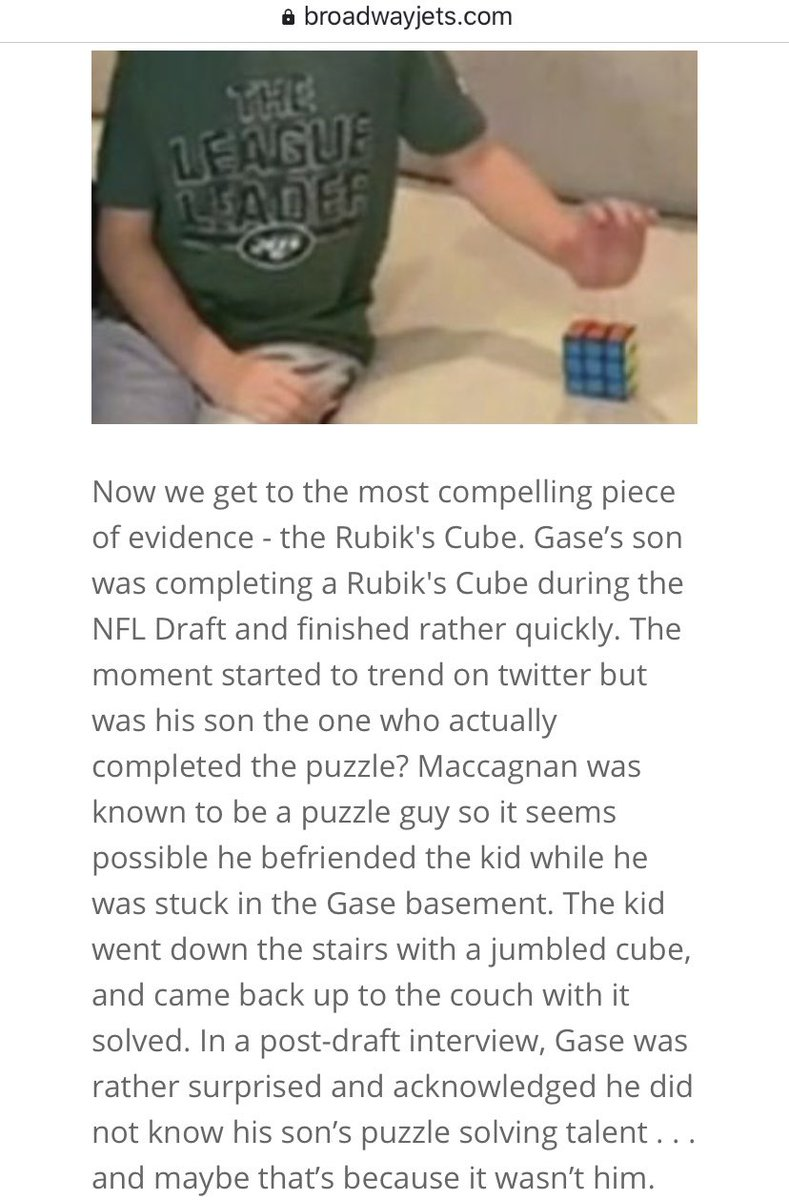 Did Mike Maccagnan actually solve the Rubiks Cube during the NFL Draft coverage while trapped in Adams Gase's basement?     https:// broadwayjets.com/f/conspiracy-t heory-did-adam-gase-kidnap-mike-maccagnan   …   #Jets #TakeFlight<br>http://pic.twitter.com/kWXi3XUXzU