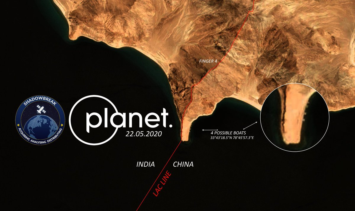 Satellite images from the #PangongTso sector now show the actual on ground situation, plotting presence of #China PLA on its side of the LAC with boats & possible tent accommodations .. mirroring the #India military base on the opposite end
