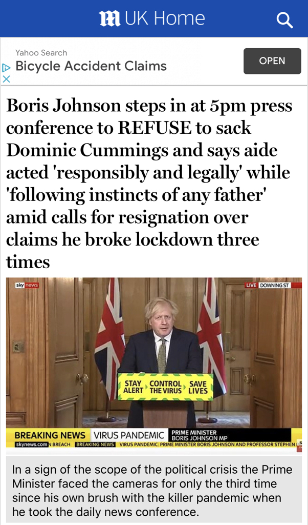 LOCKDOWN: Boris Johnson's bumbling chickenfuck of a #DailyBriefings was so bad he's managed to lose the support of Daily Mail readers.  Imagine being so inept you lose the Daily Mail; they're the trained seals of Conservative voters. Just how shit do you have to be? #SackCummings pic.twitter.com/juT9Z3AsKd
