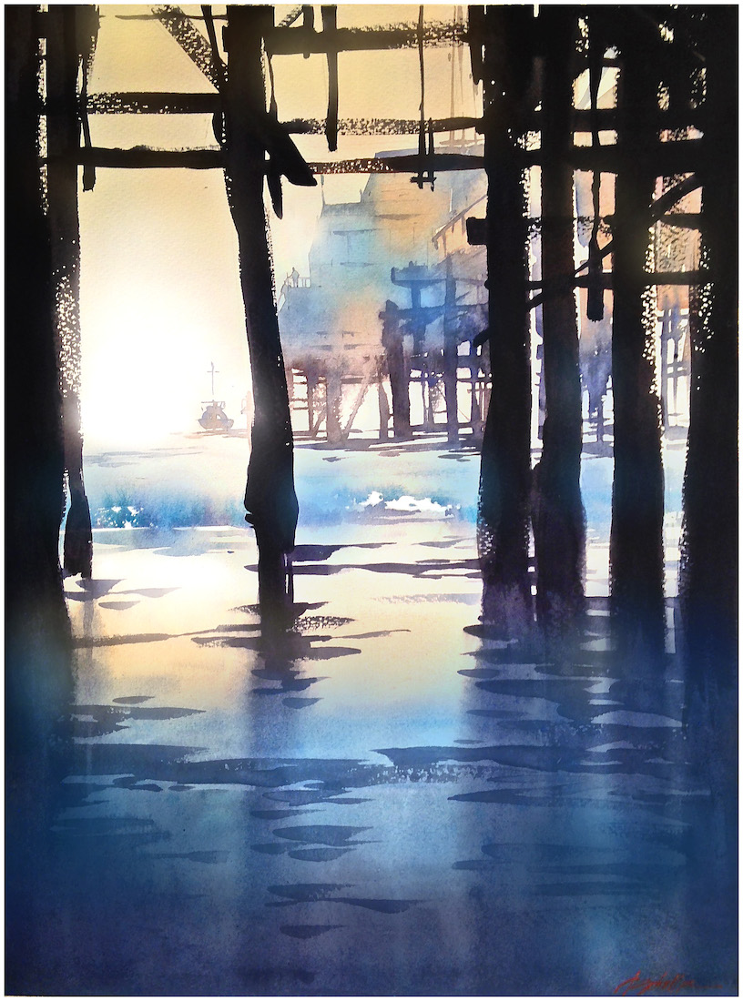 "Under the Pier ""I walked to the end of the pier and threw your name into the sea"" from 'End of the Pier' by Nicole Callihan #watercolor #pleinair #sketch #venicebeach #pierpic.twitter.com/LdXykQs9mr"