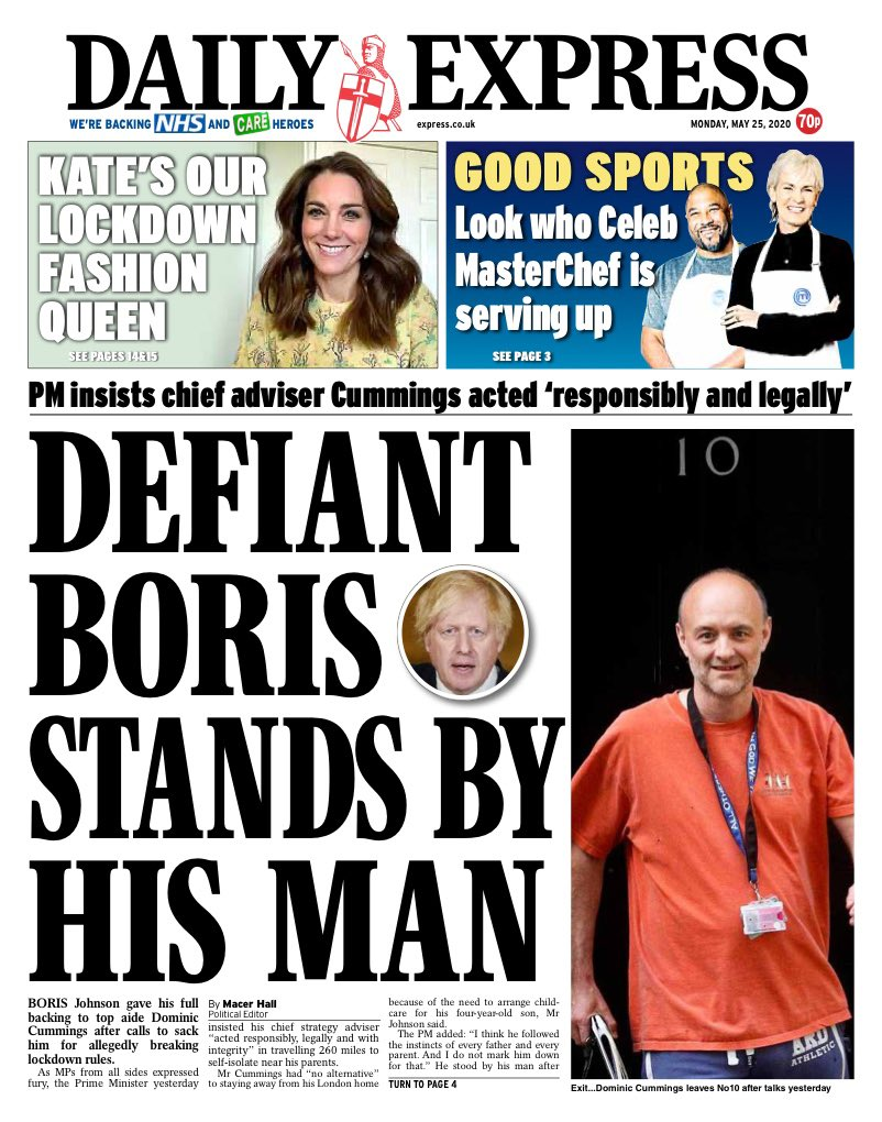 "Monday's Express: ""Defiant Boris stands by his man"" #TomorrowsPapersToday #BBCPapers (via @hendopolis)"